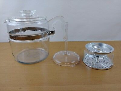 Vintage 6 Cup Glass Pyrex Flameware Percolator Coffee Pot Clean Complete 7756