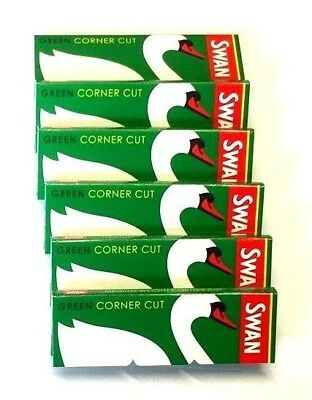 25 x SWAN GREEN Medium Weight Regular Cigarette Cig Rolling Papers Cut Corners