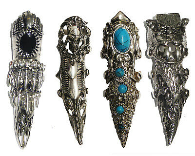 Full Finger Knuckle Gothic Armour Skull Stone Spike Claw Ring Assorted Styles
