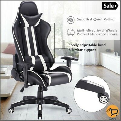 Racing Computer Gaming Chair Executive Office Leather High Back Recliner White