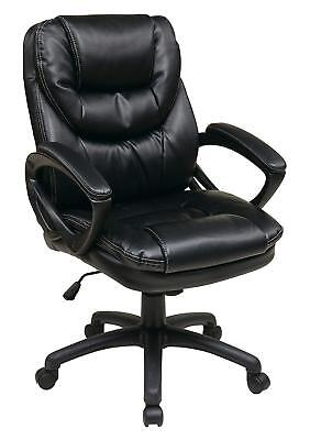 Leather Executive Office Chair Computer Desk High Back Task Armchair Swivel  Seat
