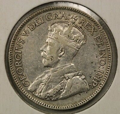 1921 25 Cents Canada George V Silver Coin High Grade Nice Look!