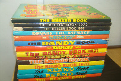Job Lot Of 15 Beano/Dandy/Beezer Annuals. Mostly Good condition