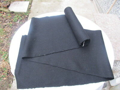 """Antique Old Homespun Frieze Fabric Roll Black About 5 Yards Thick Wool """"shaiak"""""""