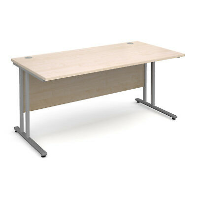 Maestro 25 SL straight desk 1600mm x 800mm - silver cantilever frame, maple
