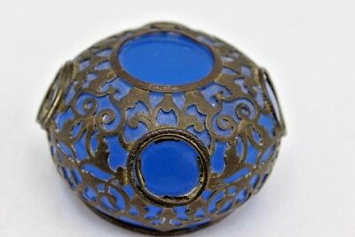 Antique French Palais Royal Opaline Blue Glass Paperweight w/ Metal Overlay ~ 3""