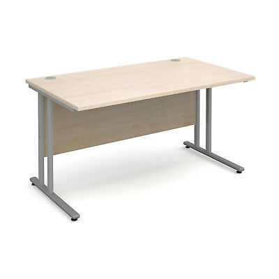 Maestro 25 SL straight desk 1400mm x 800mm - silver cantilever frame, maple