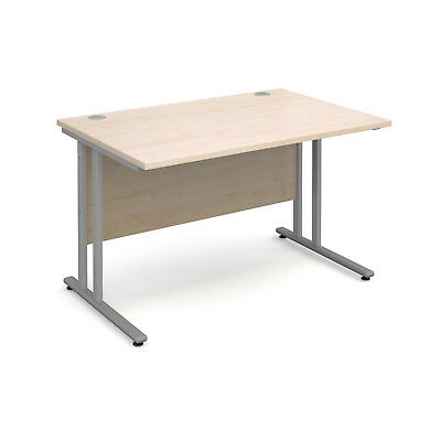 Maestro 25 SL straight desk 1200mm x 800mm - silver cantilever frame, maple