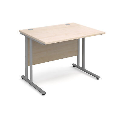 Maestro 25 SL straight desk 1000mm x 800mm - silver cantilever frame, maple