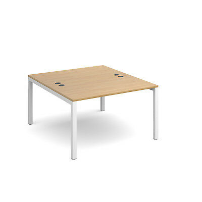 Connex back to back desks 1600mm deep - Oak - 1200 - White