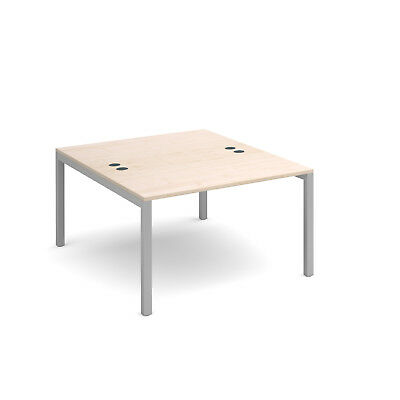 Connex back to back desks 1600mm deep - Maple - 1200 - Silver