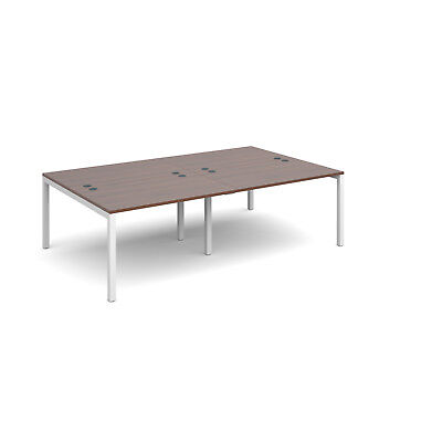 Connex double back to back desks 1600mm deep - Walnut - 2400 - White