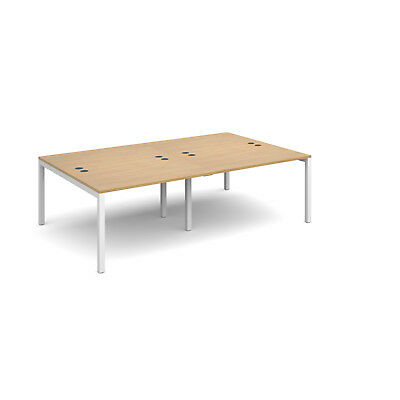 Connex double back to back desks 1600mm deep - Oak - 2400 - White