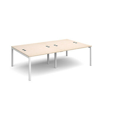 Connex double back to back desks 1600mm deep - Maple - 2400 - White