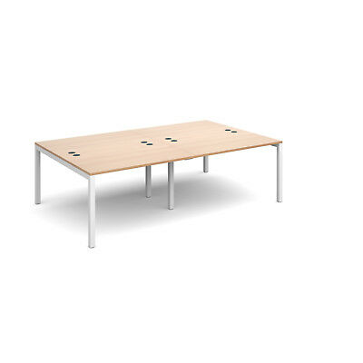 Connex double back to back desks 1600mm deep - Beech - 2400 - White