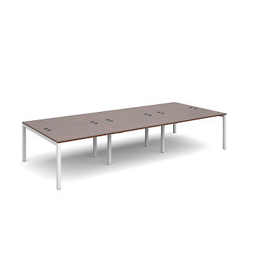 Connex triple back to back desks 1600mm deep - Walnut - 3600 - White