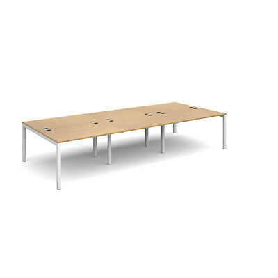 Connex triple back to back desks 1600mm deep - Oak - 3600 - White