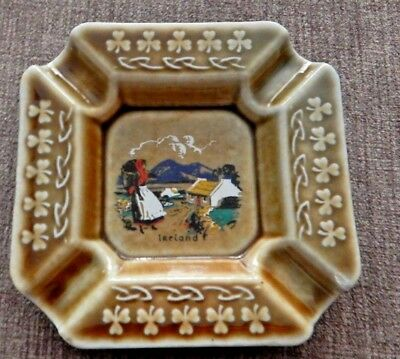Irish Porcelain Ashtray Irish Countryside Scene From Ireland Raised Clover Edge