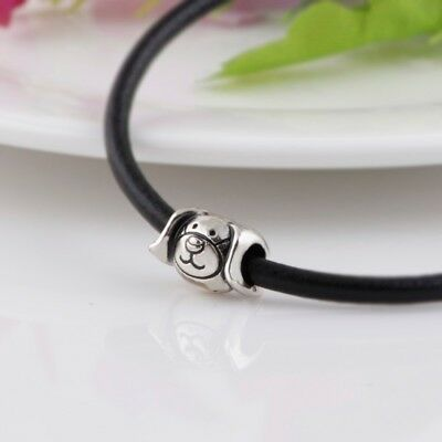 🐶 Devoted Dog Face Silver Plt Charm Bead I Love My Pet Animal Charms + Gift Bag