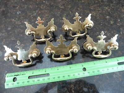 Drawer Pulls vintage brass LOT OF 5 dresser desk handles antique style salvage