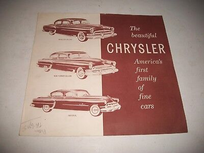 1954 Chrysler Sales Brochure Large Poster Style Windsor New Yorker Imperial