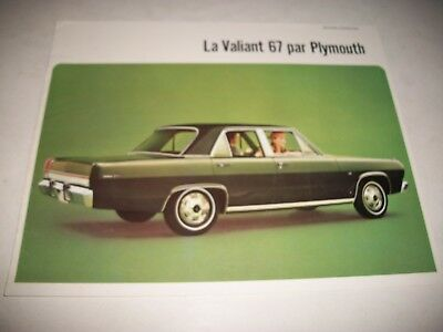 1967 Plymouth Valiant Sales  Brochure French Canadian Market Issue Very Clean