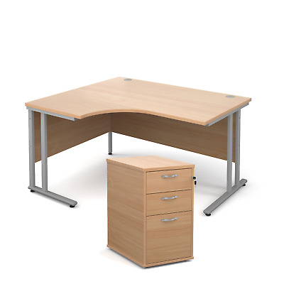 Ergonomic desk - with desk high pedestal bundle - Beech - Left Hand - 1400 - ...