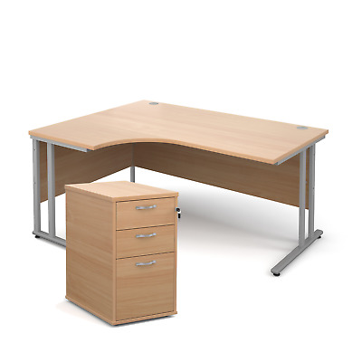 Ergonomic desk - with desk high pedestal bundle - Beech - Left Hand - 1600 - ...