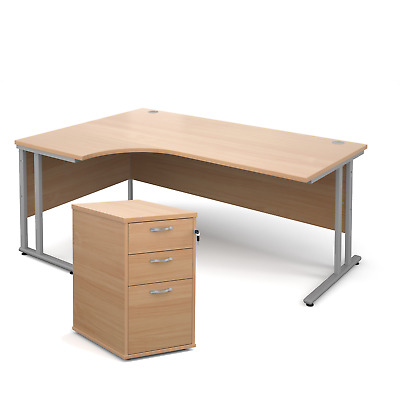 Ergonomic desk - with desk high pedestal bundle - Beech - Left Hand - 1800 - ...