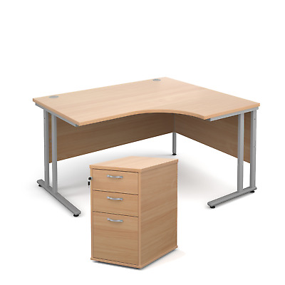 Ergonomic desk - with desk high pedestal bundle - Beech - Right Hand - 1400 -...