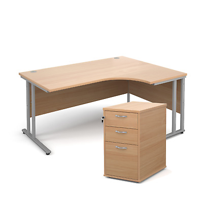 Ergonomic desk - with desk high pedestal bundle - Beech - Right Hand - 1600 -...