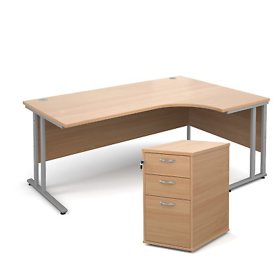 Ergonomic desk - with desk high pedestal bundle - Beech - Right Hand - 1800 -...