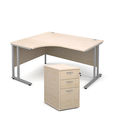 Ergonomic desk - with desk high pedestal bundle - Maple - Left Hand - 1400 - ...