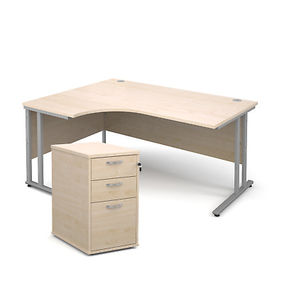 Ergonomic desk - with desk high pedestal bundle - Maple - Left Hand - 1600 - ...