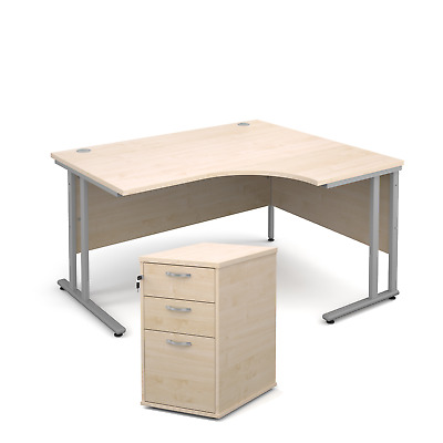 Ergonomic desk - with desk high pedestal bundle - Maple - Right Hand - 1400 -...