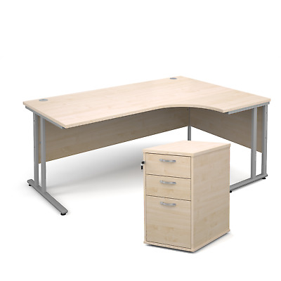 Ergonomic desk - with desk high pedestal bundle - Maple - Right Hand - 1800 -...