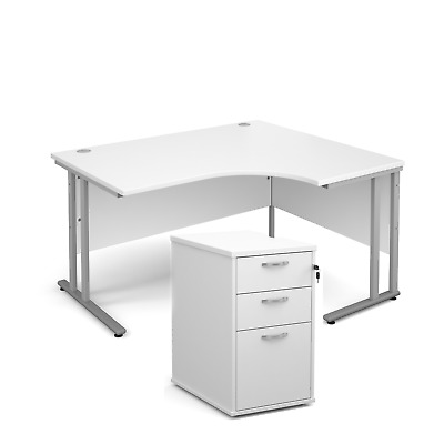 Ergonomic desk - with desk high pedestal bundle - White - Left Hand - 1400 - ...