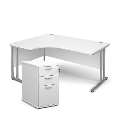 Ergonomic desk - with desk high pedestal bundle - White - Left Hand - 1600 - ...