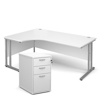 Ergonomic desk - with desk high pedestal bundle - White - Left Hand - 1800 - ...