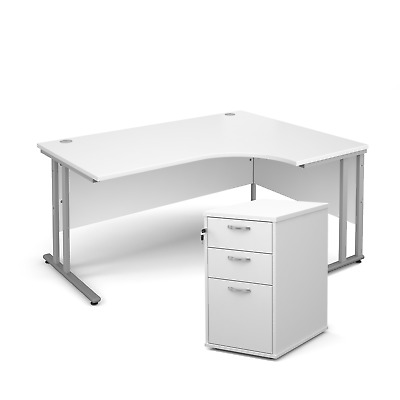 Ergonomic desk - with desk high pedestal bundle - White - Right Hand - 1600 -...