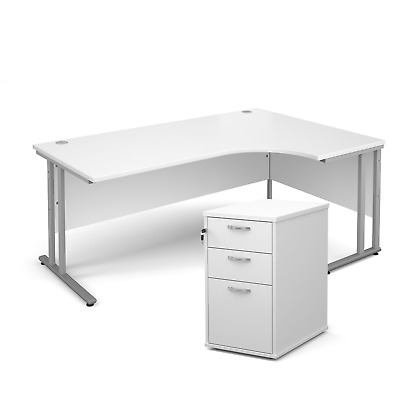 Ergonomic desk - with desk high pedestal bundle - White - Right Hand - 1800 -...