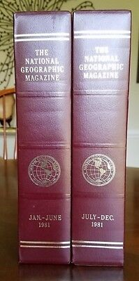 NATIONAL GEOGRAPHIC 1981 SLIP-CASES - Set of 2 - EXCELLENT Condition