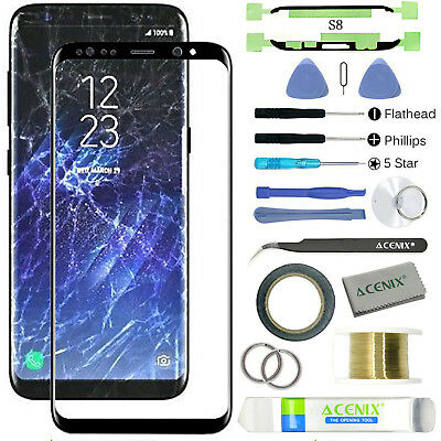 Samsung Galaxy S8 Front Glass Screen Lens Replacement Repair Kit BLACK