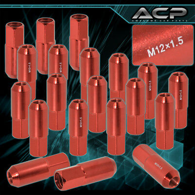 For Jaguar Kia Lincoln 20 Pcs 60Mm M12 X 1.50 Red Extended Heavy Duty Lug Nuts