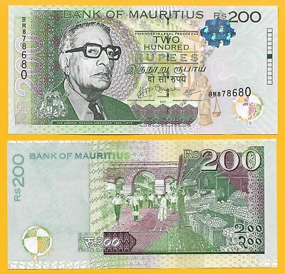 Mauritius 200 Rupees p-61a 2010 UNC Banknote