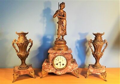 Antique French Marble Mantel Clock Garniture with Spelter Statue by F. Moreau