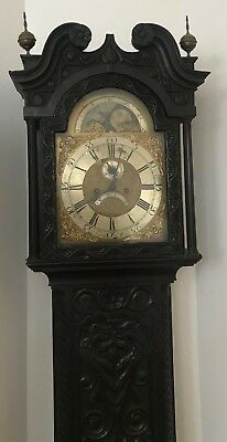 Carved oak cased long case Grandfather clock