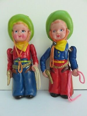 """Lot of 2 Vintage Celluloid Cowboys w/Pistol and Lasso 4"""" Marked w/Clover Japan"""