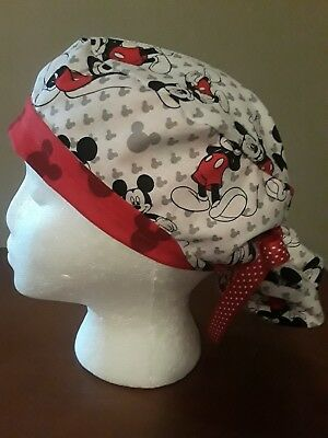 Mickey Mouse White Ponytail Women's Surgical Scrub Hat/Cap Handmade