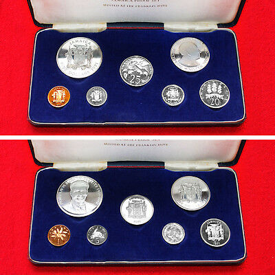 1971 Jamaica (7 Coin)Proof Set Includes .925 Silver 5 Dollar Franklin Mint Issue